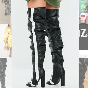 striped peep toe ruched over the knee boots